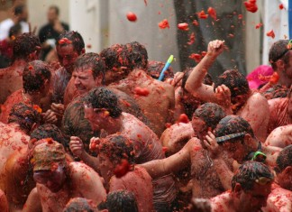 La Tomatina festival held Buñol, Valencia on the last Wednesday of August.